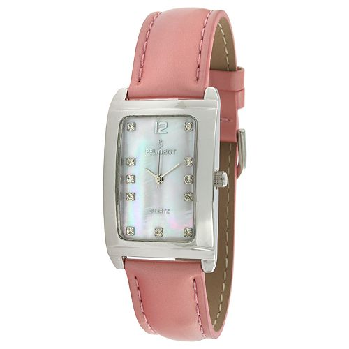 Peugeot Women's Crystal Accent Leather Watch - 330PK