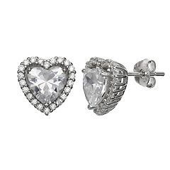 Primrose Sterling Silver Cubic Zirconia Heart Halo Stud Earrings