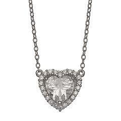 Primrose Sterling Silver Cubic Zirconia Heart Halo Pendant Necklace
