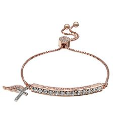 Brilliance Wing & Cross Bar Adjustable Bracelet with Swarovski Crystals