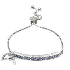 Brilliance Heart & Cross Bar Adjustable Bracelet with Swarovski Crystals