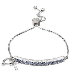 Brilliance Heart & Cross Bar Adjustable Bracelet with Swarovski Crystals