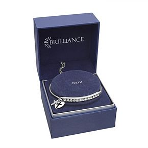 Brilliance Cross & Heart Charm Adjustable Bar Bracelet with Swarovski Crystals