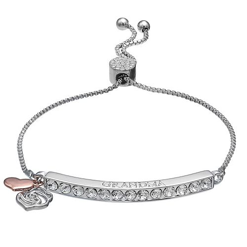 "Brilliance ""Grandma"" Heart & Rose Charm Adjustable Bar Bracelet with Swarovski Crystals"