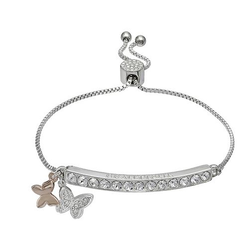 Brilliance Butterfly Charm Adjustable Bar Bracelet with Swarovski Crystals