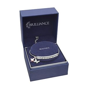 Brilliance Butterfly Charm Adjustable Bar Bracelet with Swarovski Crystals