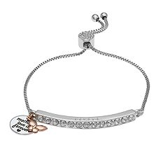 Brilliance 'Mom' Butterfly Charm Adjustable Bar Bracelet with Swarovski Crystals