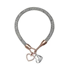 Brilliance Heart Charm Mesh Bracelet with Swarovski Crystal