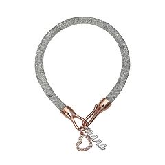 Brilliance 'Nana' Heart Charm Mesh Bracelet with Swarovski Crystals