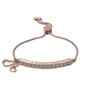 "Brilliance ""Love"" Heart & Infinity Charm Adjustable Bar Bracelet with Swarovski Crystals"