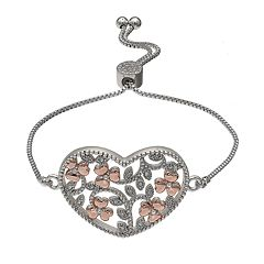 Brilliance Filigree Heart Adjustable Bracelet with Swarovski Crystals