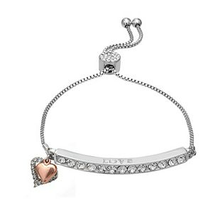 Brilliance Heart Charm Adjustable Bar Bracelet with Swarovski Crystals