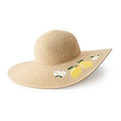 Women's LC Lauren Conrad Lemon Embroidered Floppy Hat