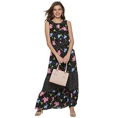 3635608882 Women s Apt. 9® Tiered Ruffle Maxi Dress. Blue Paisley Black Dot Floral Pink  ...