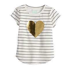Toddler Girl Jumping Beans® Striped Foiled Heart Tee
