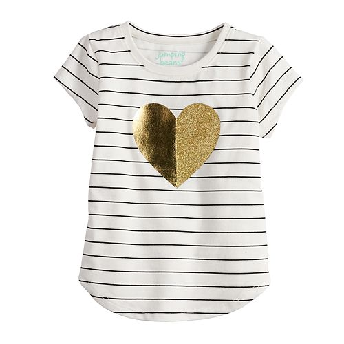 bd3ef2658 Toddler Girl Jumping Beans® Striped Foiled Heart Tee