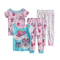 Baby Girl Sesame Street Elmo & Abby Cadabby Tops & Bottoms Pajama Set