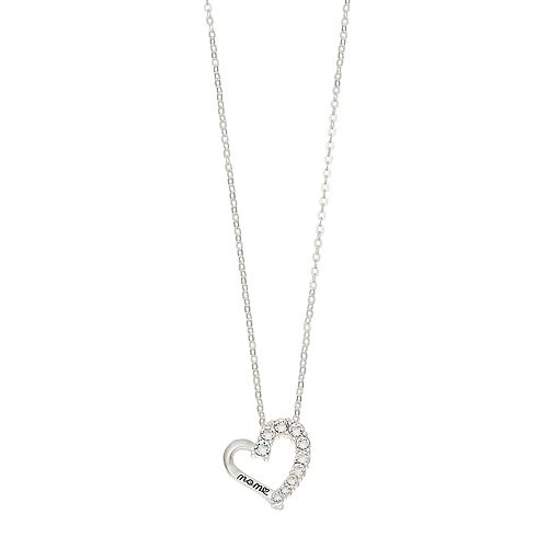 """Brilliance """"Mom"""" Heart Pendant Necklace with Swarovski Crystals"""