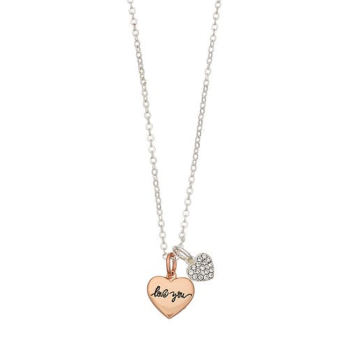 "Brilliance ""Love You"" Rose Gold Two Tone Swarovski Crystal Angel Charm Necklace"