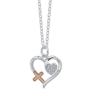"Brilliance ""Faith"" Heart & Cross Pendant Necklace with Swarovski Crystals"