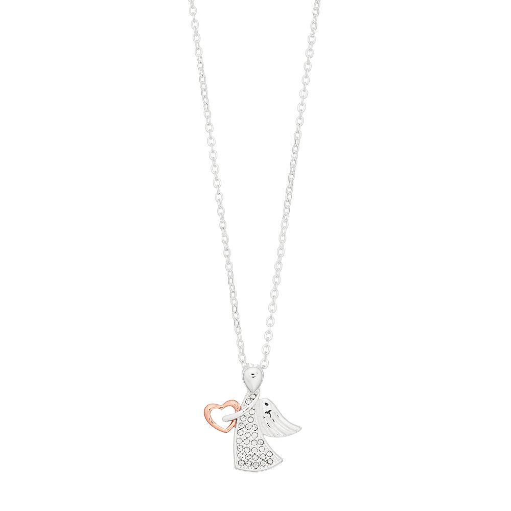 Brilliance Swarovski Crystal Angel Rose Gold Pendant Necklace