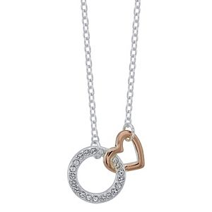 "Brilliance ""Friend"" Two-Tone Circle & Heart Necklace with Swarovski Crystals"