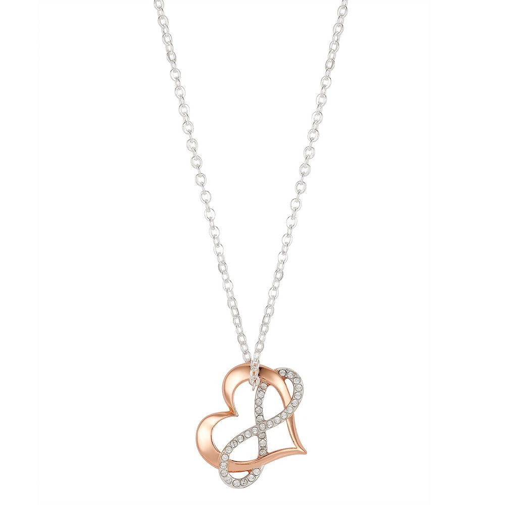 "Brilliance ""Love"" Two-Tone Heart & Infinity Pendant Necklace with Swarovski Crystals"