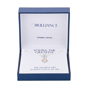 "Brilliance ""You're The Greatest"" Two-Tone Infinity Heart Pendant Necklace with Swarovski Crystals"
