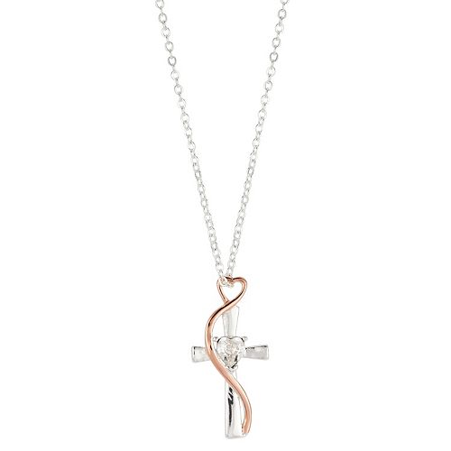 Brilliance Swarovski Crystal Heart And Cross Rose Two Tone Pendant Necklace