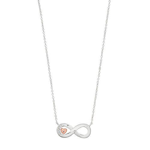 Brilliance Infinity Swarovski Crystal Rose Gold Two Tone Necklace