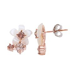 Brilliance Mother of Pearl Flower Stud Earrings with Swarovski Crystals