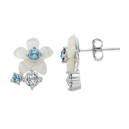 b8bb65d29 Brilliance Mother of Pearl Flower Stud Earrings with Swarovski Crystals