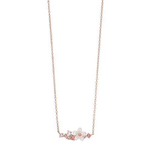 Brilliance Mother of Pearl Flower Bar Necklace with Swarovski Crystals