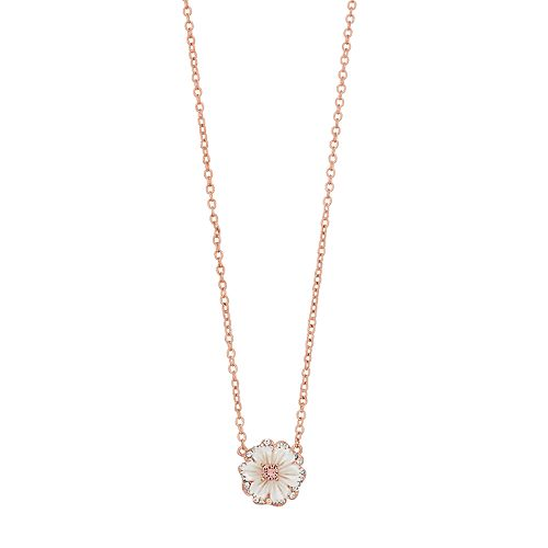 Brilliance Rose Gold Tone Mother of Pearl Flower Necklace with Swarovski Crystals