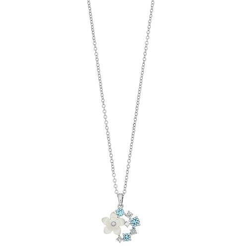 Brilliance Mother-of-Pearl Flower Pendant Necklace with Swarovski Crystals