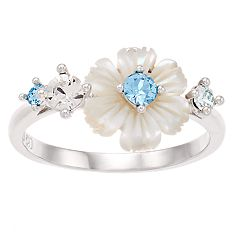 Brilliance Mother of Pearl Flower Ring with Swarovski Crystals