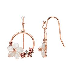 Brilliance Mother of Pearl Flower Hoop Drop Earrings with Swarovski Crystal