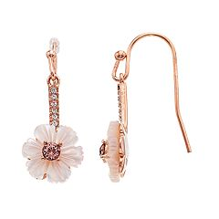Brilliance Mother of Pearl Flower Drop Earrings with Swarovski Crystals