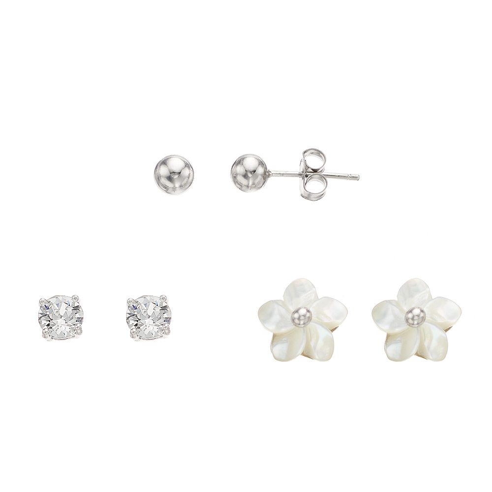 Brilliance 3-Pair Stud Earring Set with Swarovski Crystals