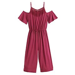 Girls 7-16 & Plus Mudd® Cold-Shoulder Crochet Jumpsuit