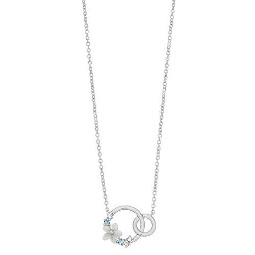 Brilliance Mother of Pearl Flower Interlocking Hoop Necklace with Swarovski Crystals