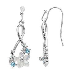 Brilliance Mother of Pearl Flower Infinity Drop Earrings with Swarovski Crystals