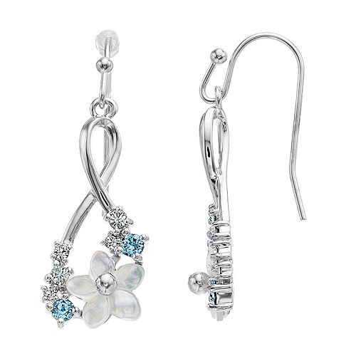 344fe6183 Brilliance Mother of Pearl Flower Infinity Drop Earrings with Swarovski ...