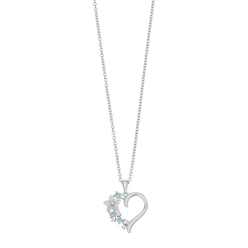 Brilliance Swarovski Mother of Pearl Heart Pendant Necklace with Swarovski Crystals