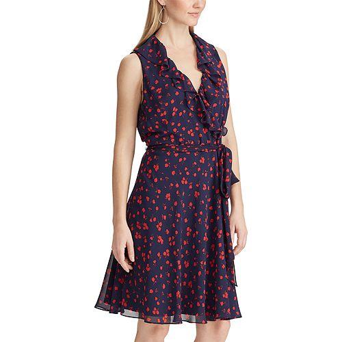 Women's Chaps Print Ruffle Faux-Wrap Dress