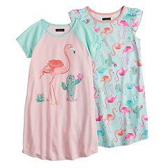 d0ebef0458 Girls 6-16 Cuddl Duds 2-pack Dorm Nightgowns. Blue White Ground Blue Pink