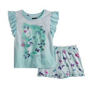 Girls 6-16 Cuddl Duds Flutter Sleeve Top & Shorts Pajama Set