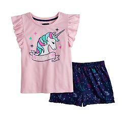 b0f103db5d1 Girls 6-16 Cuddl Duds Flutter Sleeve Top   Shorts Pajama Set