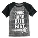 "Boys 4-12 Jumping Beans® ""Swing Hard Run Fast"" Baseball Raglan Tee"