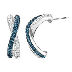 Chrystina Silver Plated Blue & White Crystal Crisscross Earrings